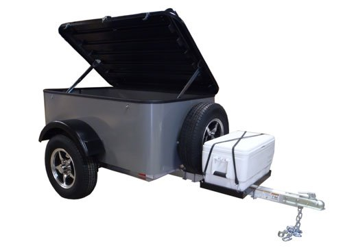 Hybrid Trailer Co. Vacationer with Spare Tire and Cooler Tray - Enclosed Cargo Trailer, 990 lbs. Gross, 30 cu/ft. - Pewter
