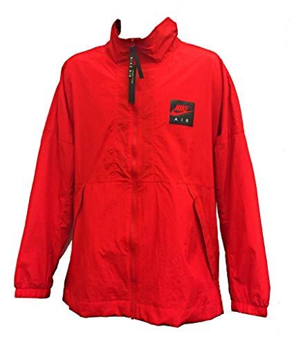 Nike Men's Air Woven Track Jacket 886056-657 Full Zip Windbreaker Packable Oversize Spellout (Red, Medium)