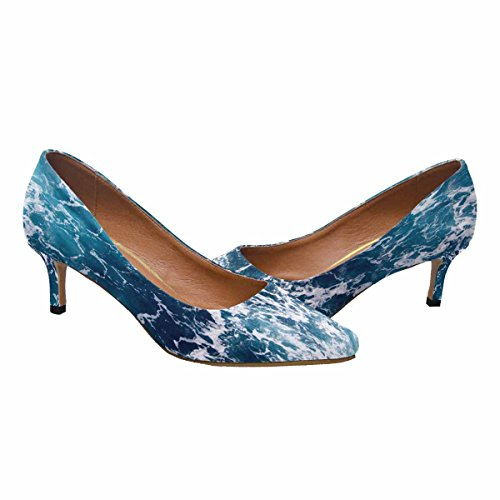 Interestprint Mujeres Low Kitten Zapatos De Tacón Con Punta En Punta Para Bombas Ocean Wave Multi 1