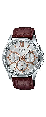 - Casio MTP-E315L-7AV Men's Leather Band Multi-Hands Silver Dial Analog Watch