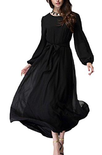 Da Coolred Maniche Vita Vestito Nera Lunghe Smocked donne Partito Maxi Musulmano Classico A ETqrEUx