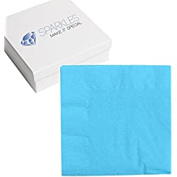 "Sparkles Make It Special 50 pcs 2-Ply 5"" inch Paper Napkins - Aqua Blue - Cocktail Drink Party Wedding Reception"