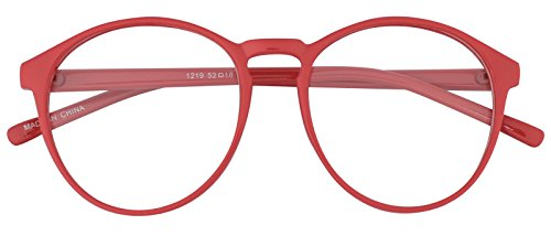 Oversized Big Round Horn Rimmed Eye Glasses Clear Lens Oval Frame Non Prescription (Red 12194)]()