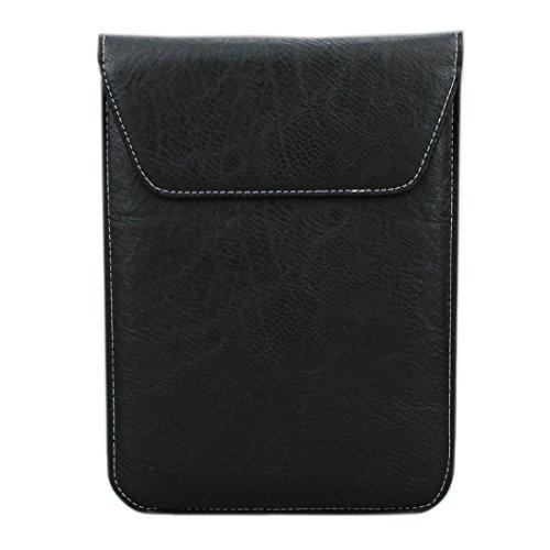 aubaddy Double Pouch Leather Sleeve Bag Slim Travel Case for iPad Mini / Mini 2 / Mini 3 / Mini 4 (Black)