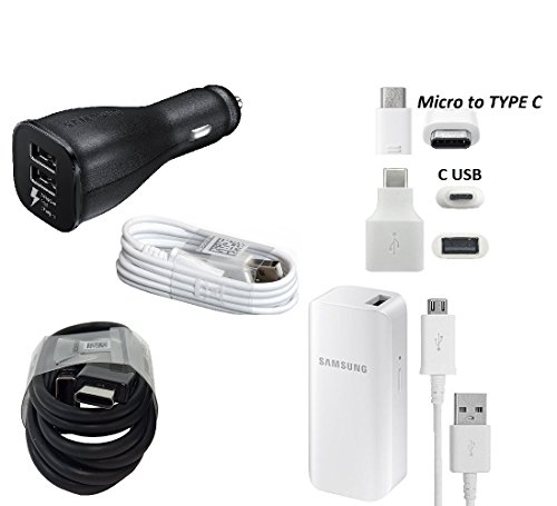 Offical OEM Samsung Adaptive Fast Dual Charging Charger W/Micro & TYPE C USB & 2100mAh Battery Charger & Google C USB Adapter for Samsung Galaxy S8/S9/+/Note8 (Combo Pack Kit) Verizon Vehicle Power Charger