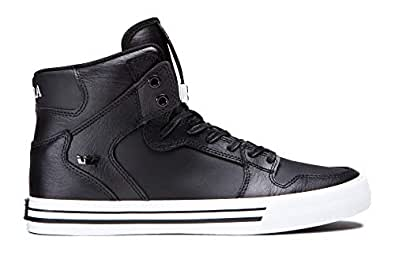 Supra Vaider Skate Shoe, Black/White, 4 Regular US