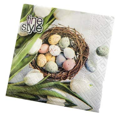AVEVER Tulip Napkins | Easter Paper Napkins | Easter Beverage Napkins | Flowered Napkins | Decorative Napkins for Decoupage | Decoupage Napkins | Pretty Luncheon Napkins | Bird Napkins | 5 x 5, 40 ct
