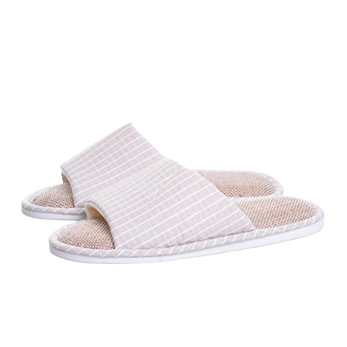 Home Slippers,unisex Cotton Flax Casual summer bedroom Slippers Coffee US 8,Memorygou