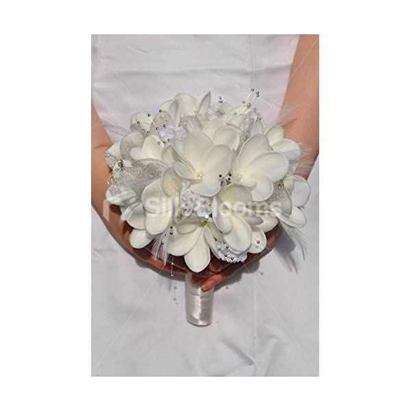 Artificial Fresh Touch White Frangipani Bridal Bouquet with Lace