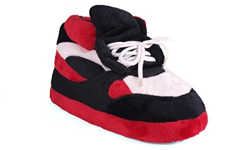 Happy Feet 1006-4 - Red, Black and White - XL Sneaker Slippers