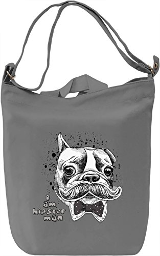 Dog with Mustache Borsa Giornaliera Canvas Canvas Day Bag| 100% Premium Cotton Canvas| DTG Printing|