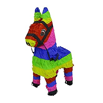 Lytio Miniature Donkey Multicolored Mini Burro Shaped Pinata (3-Pack Piñata) Ideal and Fun for Parties, Mexican or Animal Themed Celebrations