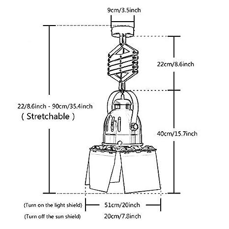 Plafón lámparas de techo extensibles industriales E27 40 W ...