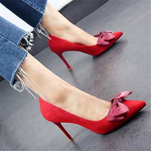Zapatos Zapatos Activos señaló otoño de YMFIE de Zapatos La Fiesta de Tacones Boda el Europeos Primavera y Aguja Baja Dulce Arco Solo C Boca wTqXa