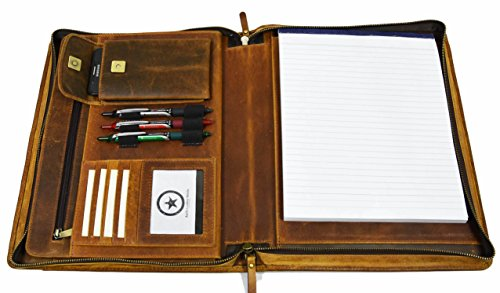 Zippered Genuine Leather Business Portfolio | Easy To Carry Organizer With Writing Pad Holder, Business Card And Pen Slots. IPAD/Tablet Holder And Flip-Closure Phone Pocket, Tan by Aaron Leather Leather Padfolio Pen