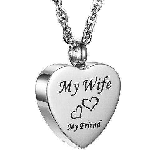 AMIST My Friend Love Heart Cremation Jewelry Keepsake Memorial Urn Necklace