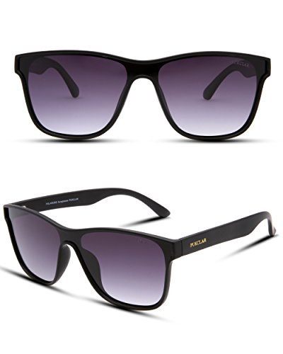 PUKCLAR Classic 80's Vintage Style Wayfarer sunglasses Men Women One piece Lens Polarized Eyeglasses 100% - Lenses Polarized Eyeglass