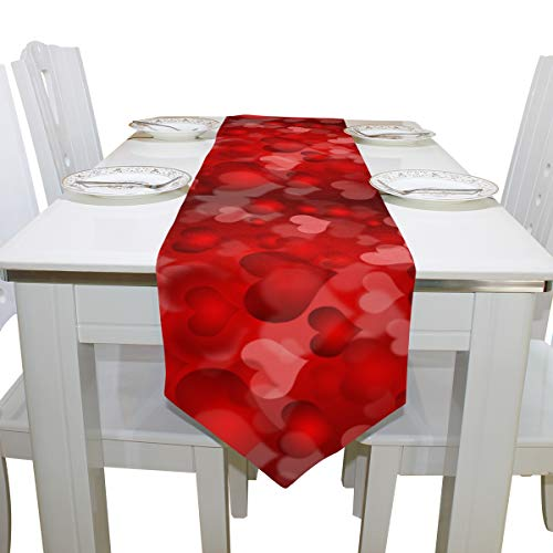 Wamika Spring Happy Mother Day Red Heart Floral Long Table Runner Cloths 13x70 Inch,Colorful Best Super Mom Holiday Rectangle Table Cloth Runner Placemat for Kitchen Dining Wedding Party Home Decor