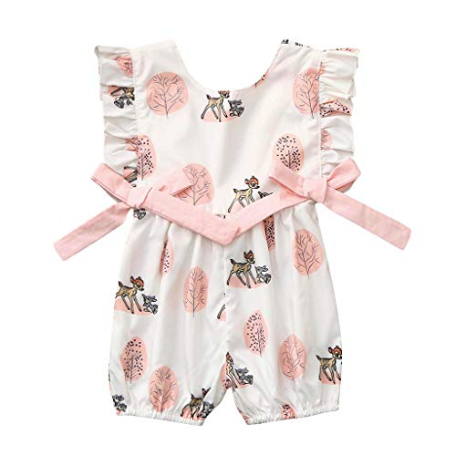 NUWFOR Newborn Infant Baby Girl Boy Bow Cartoon Deer Romper Jumpsuit Romper Clothes Outfits for Toddlers(White,3-6 Months) -