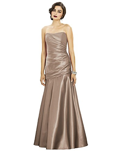 Length Women Draped Detail s at Satin Matte Bodice Full Dessy w Topaz Dress Strapless 1Ctq1F