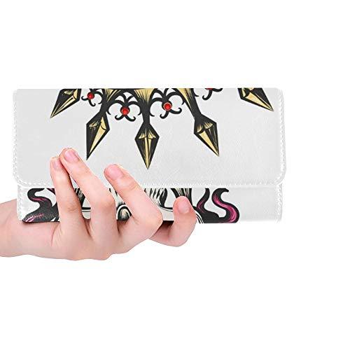 Unique Custom Female Skull Crown Long Hair Queen Women Trifold Wallet Long Purse Credit Card Holder Case Handbag