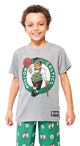 NBA Boston Celtics Boys Pajamas Sleepwear 2 Piece Pjs Lounge Pants & Tee Set, Kelly Green, ()
