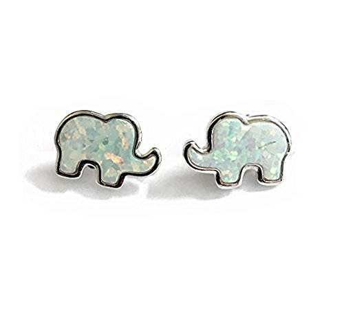 Elephant Pierced Earrings - 925 Solid Sterling Silver Tiny White Opal Lucky Elephant Stud Earrings - Small Animal Jewelry - Unisex