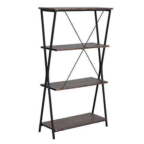 HouseinBox 4Tiers Retro Metal Bookcase Storage Display Shelves Unit Wooden Bookshelf Walnut,LXWXH:31'' x 11'' x 54'' (Bookcase Walnut Round)