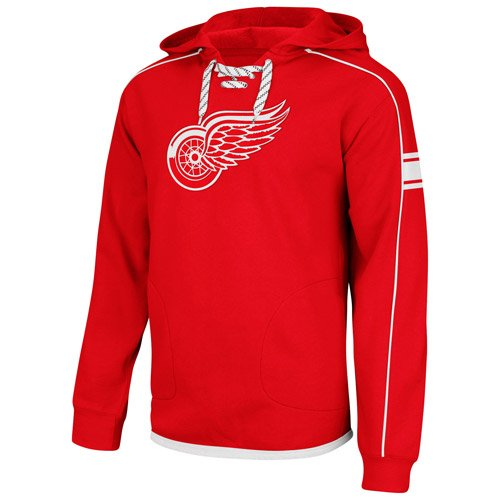 Reebok Detroit Red Wings Red Hat Trick Embroidered Hooded Sweatshirt by (XL=48) ()