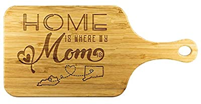 Cutting Board For Mom - Home Is Where My Mom Is Kentucky State KY And Connecticut State CT - Home Decor, Home Accents, Mother's Day Gift, Grandparent's Day Gift Mom Cutting Board