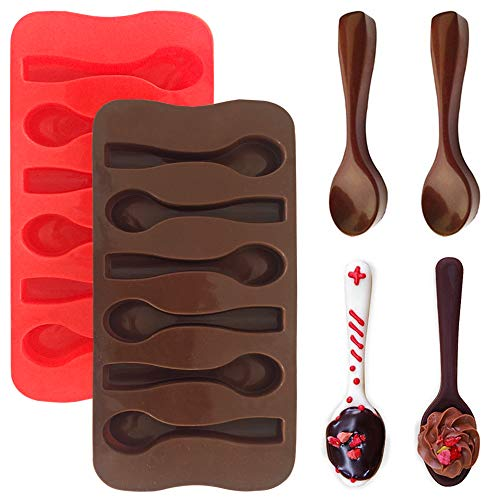 (4 Packs Spoon Shape Molds,YuCool Silicone Chocolate Candy Mold for DIY/Party/Holiday Decor-Red and Brown)