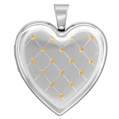 Sterling Silver Heart Locket Necklace 4 Picture Gold Quilt 1 inch NO CHAIN