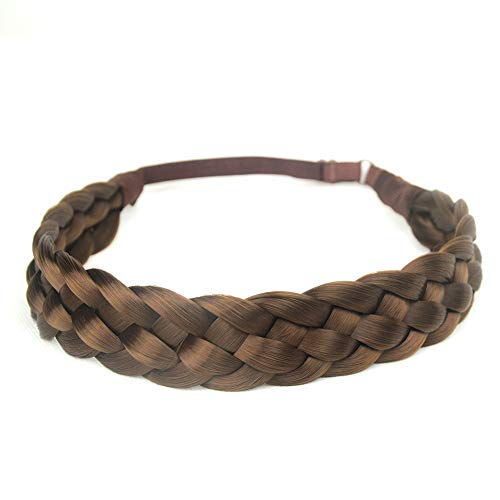 DIGUAN 5 Strands Synthetic Hair Braided Headband Classic Chunky Wide Plaited Braids Elastic Stretch Hairpiece Women Girl Beauty accessory, 56g (#Medium Brown)