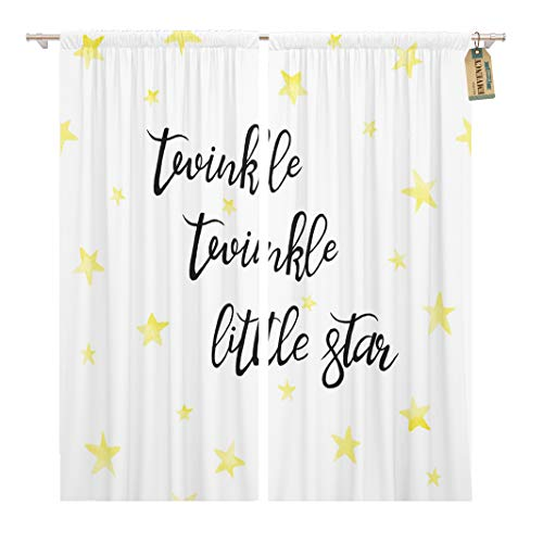 Golee Window Curtain Twinkle Little Star Lettering Lullaby Nursery Baby Golden Home Decor Rod Pocket Drapes 2 Panels Curtain 104 x 84 inches