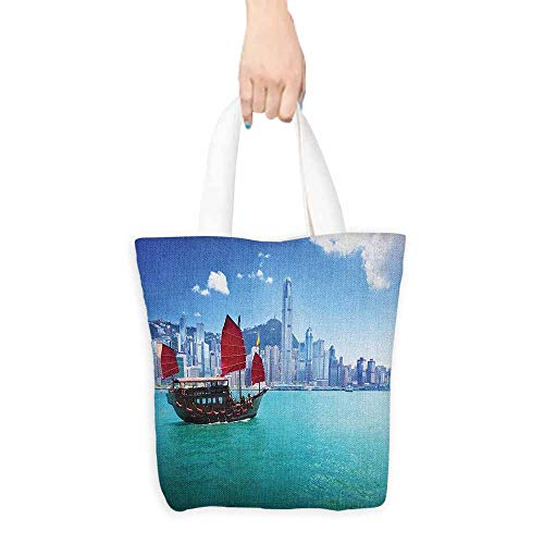 Handbag or crossbody messenger bag Ocean Hong Kong Harbour Small Traditional Junk Boat With Flags Buildings Skyline and Sea Washable tote 16.5