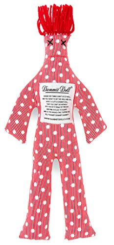 Dammit Doll -Classic Seeing Red Stress Doll -White Dots & Thin Horizontal Stripes on Red, Red Hair-Stress Relief, Gag Gift (A-tete Classic Tete)