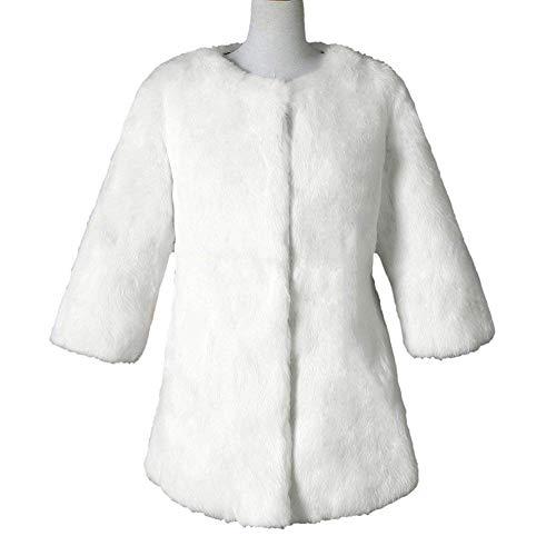 Larga Termica Sólido Abrigos Moda Otoño De Retro Cómodo Sintético Mujer Espesor Manga Elegante Chaqueta Blanco Piel Invierno Color Outerwear 7vZHHq