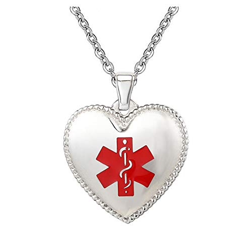 "- BAIYI Medical Alert ID Necklace Stainless Steel Heart Dog Tag with Rolo Chain 22"" (Free Engraving)"
