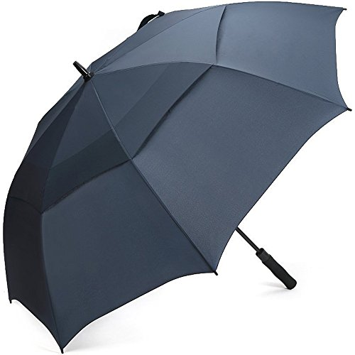 G4Free 68 Inch Automatic Open Golf Umbrella Double Canopy Extra Large Oversize Windproof Waterproof Stick Umbrellas(Navy Blue) (Moderate Coverage Back)