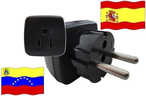 Adaptador de Viaje para España y Venezuela ES/VE Enchufe de Viaje (Contacto de Protección, 2200 Vatios): Amazon.es: Bricolaje y herramientas