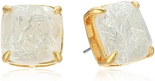 kate spade new york Small Square Studs White Glitter Stud Earrings