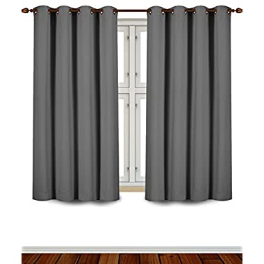 Blackout Room Darkening Curtains Window Panel Drapes - (Grey) 2 Panel Set - 52 inch wide by 63 inch long each panel - 8 Grommets / Rings per panel- 2 Tie Back included- by Utopia Bedding