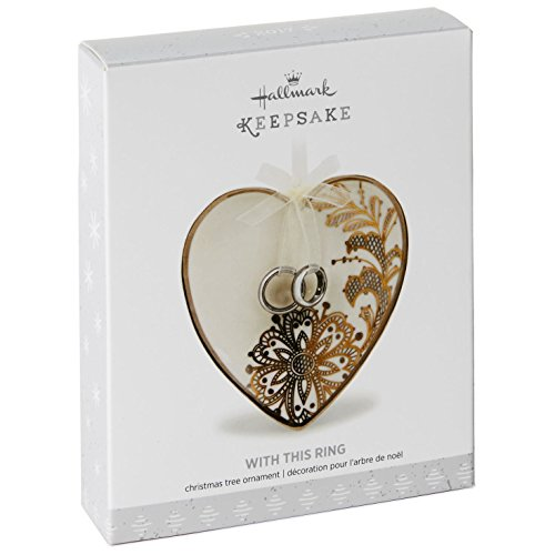 Hallmark 1995QHX1002 Wedding Heart & Rings Keepsake Christmas Ornaments