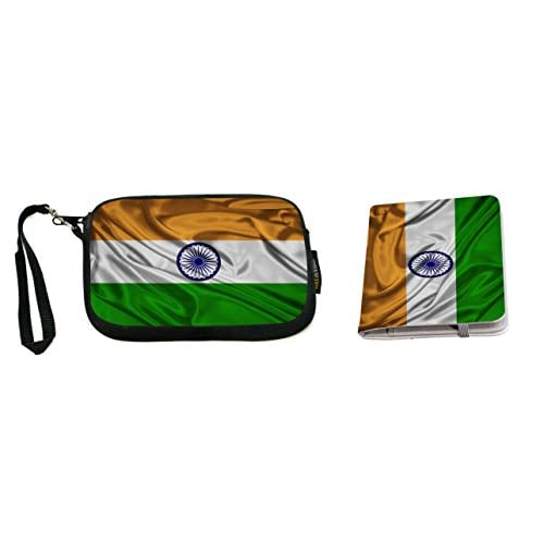 Rikki Knight India Flag Design Neoprene Clutch Wristlet with Matching Passport Holder