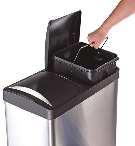 The Step N' Sort 16 Gal. 2-Compartment Stainless Steel Trash and Recycling Bin