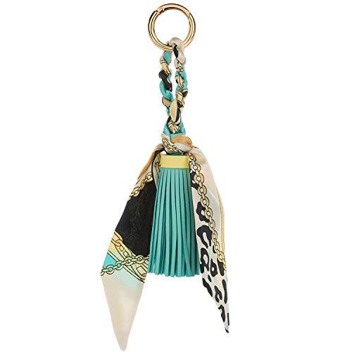 JOUDOO Tassels Keychain with Silk Ribbon for Handbag Purse Backpack Phone Hanging Pendant Keyring GJ021 (light blue) ()