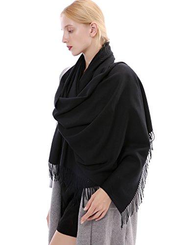 Vigeiya Solid Color Tartar Tassel Large Extra Soft Cashmere Blend Women Pashmina Warm Shawl Wrap Stole Scarf (Black)