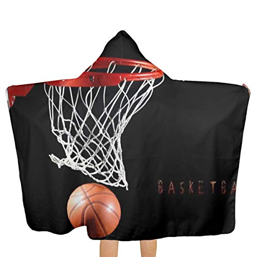 Hooded Basketball (MSMM Bath Hooded Towel Bath Robe Basketball Hoop Poncho Fast Drying Oversized Beach Washcloth for Boys Surf)