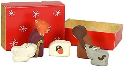 Tamaño pequeño hecho a mano rojo caja de cerillas Belén figura Set ...