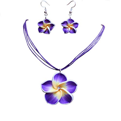 AMGJ 18 Colors Women Jewelry Sets Hawaii Plumeria Flower Pendant Necklace Earrings ()